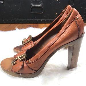 Chloe leather peep toe heels